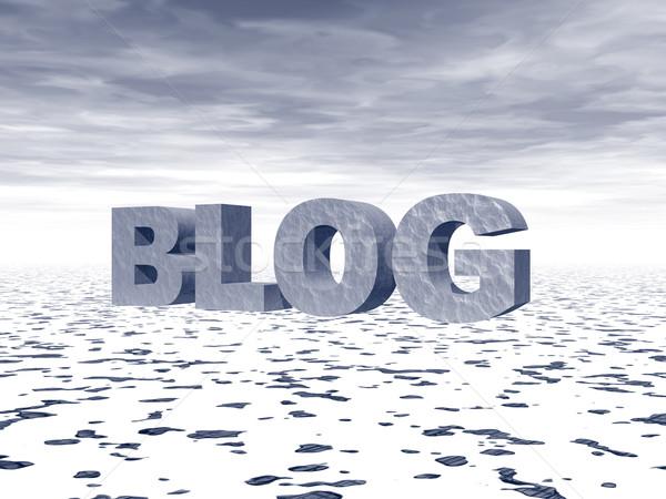 Foto stock: Blog · palabra · grande · 3D · cartas · nieve