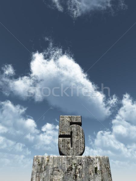 Vijf aantal blauwe hemel 3d illustration partij landschap Stockfoto © drizzd
