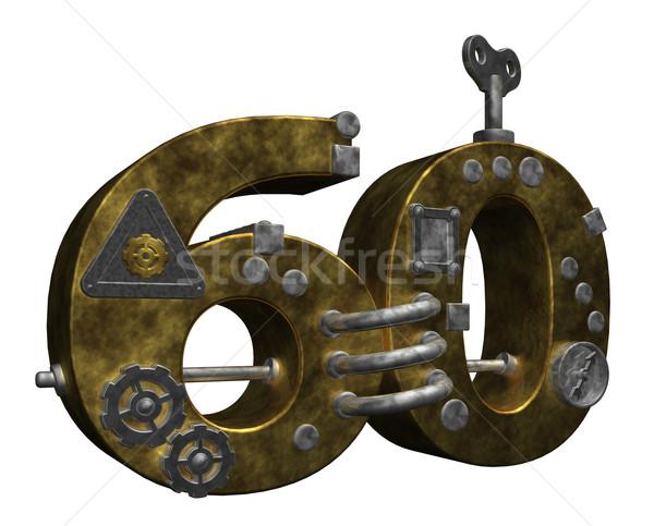 Aantal zestig steampunk witte 3d illustration financieren Stockfoto © drizzd
