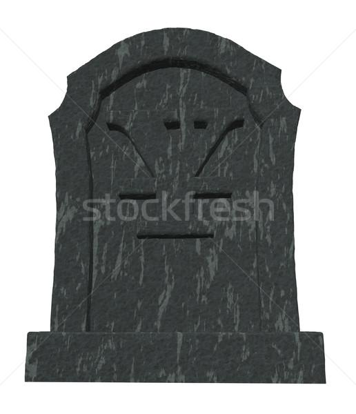ölü yen mezar taşı simge beyaz 3d illustration Stok fotoğraf © drizzd