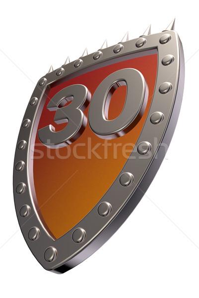 Nombre métal bouclier trente 30 blanche Photo stock © drizzd