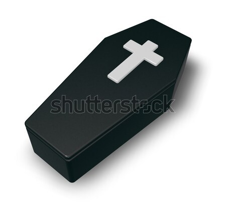 Black casket whit christian cross - 3d illustration Stock photo © drizzd