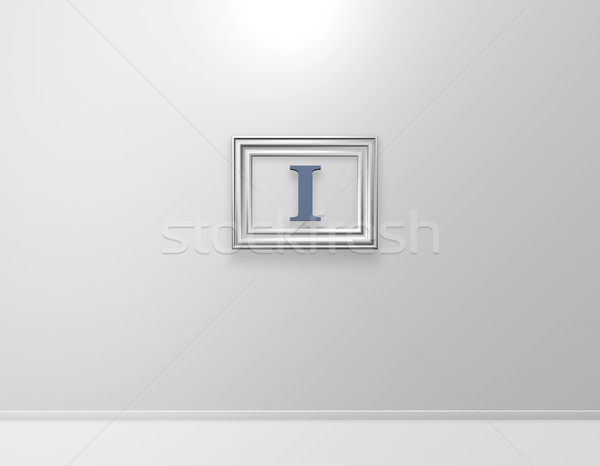 picture frame with letter i on white wall - 3d illustration Stock photo © drizzd