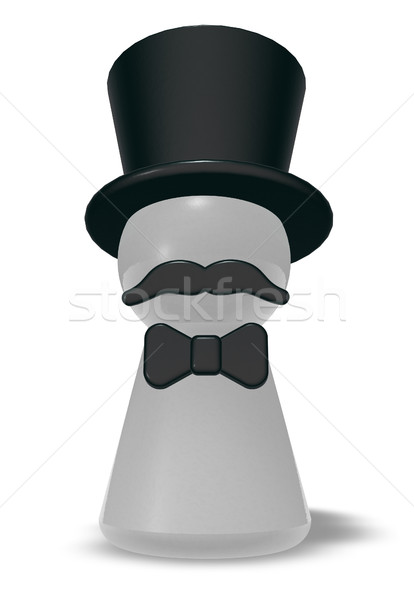 pawn with hat and beard - 3d rendering Stock photo © drizzd