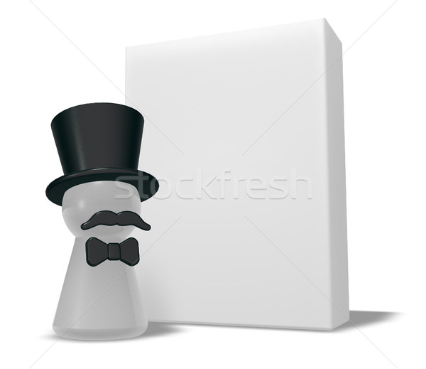 pawn with hat and beard and blank white box - 3d rendering  Stock photo © drizzd