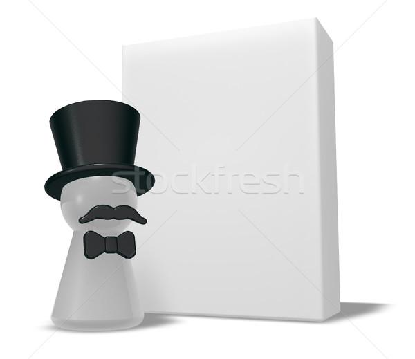 Gyalog kalap szakáll fehér doboz 3D Stock fotó © drizzd
