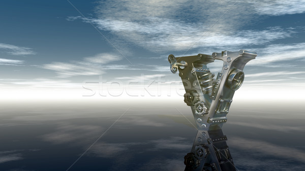 machine letter v under cloudy sky - 3d illustration Stock photo © drizzd