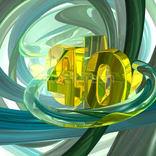 Złoty czterdzieści numer techno przestrzeni 3d ilustracji Zdjęcia stock © drizzd