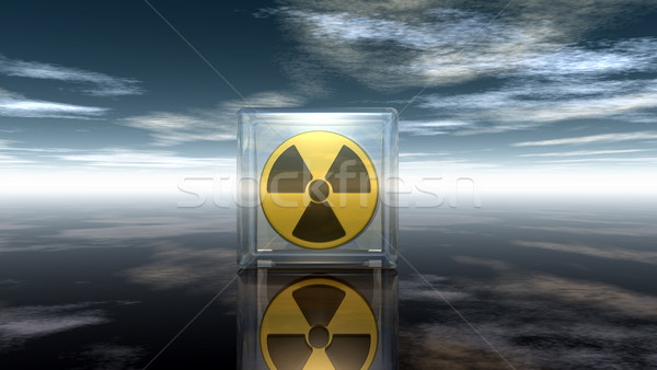 Nukleáris szimbólum felhős égbolt 3d illusztráció textúra Stock fotó © drizzd