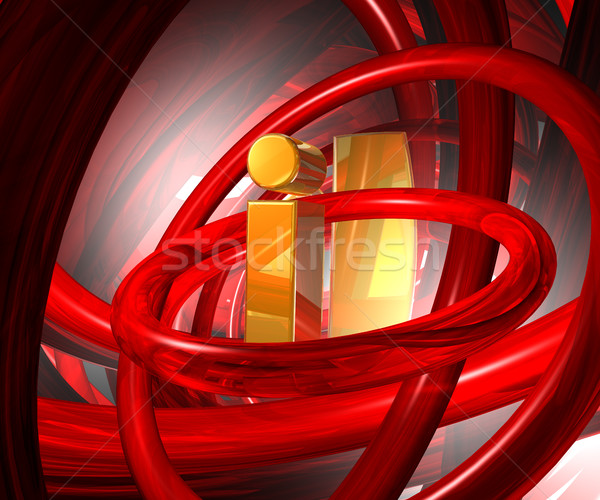 Gouden letter i abstract futuristische ruimte 3d illustration Stockfoto © drizzd