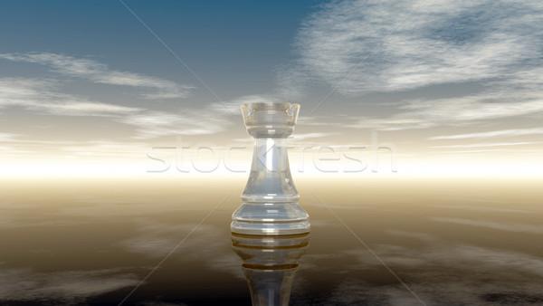 Glas Schach bewölkt Himmel 3D Rendering Stock foto © drizzd