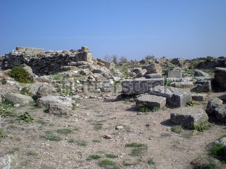 Grego templo edifício pôr do sol pedra teatro Foto stock © Dserra1