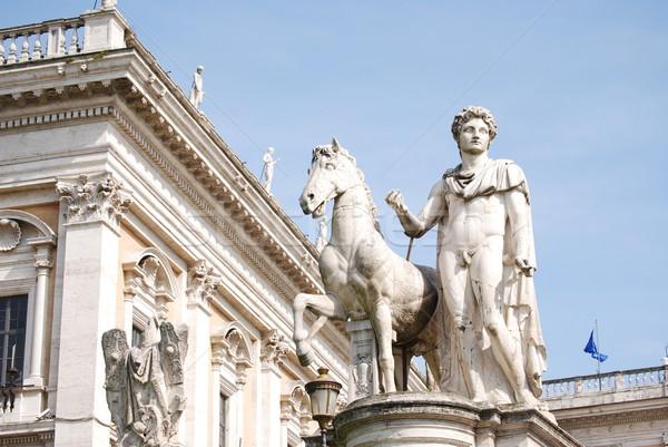 Stock fotó: Lovas · szobor · Róma · Olaszország · égbolt · épület