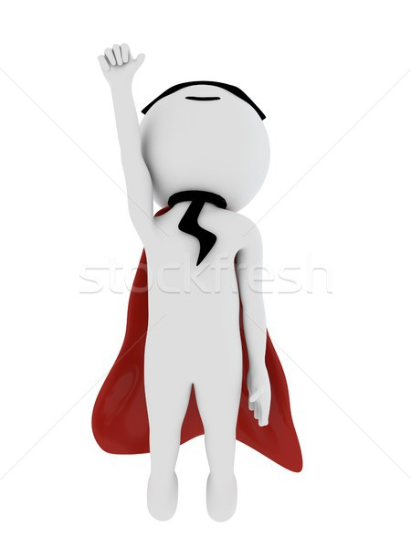 3d super stylish hero with red cape and wearing mask Stock photo © DTKUTOO