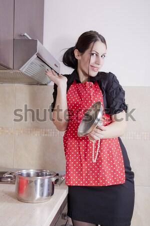 主婦 洗浄 キッチン 肖像 ホーム バー ストックフォト © dukibu