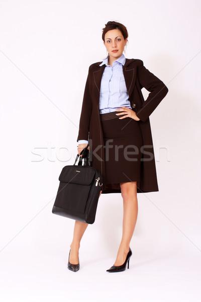 Genç çekici işkadını evrak çantası portre iş Stok fotoğraf © dukibu