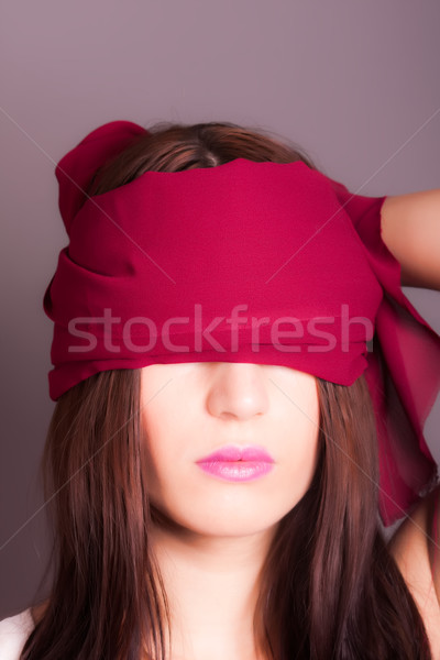 Kız gözler kapalı portre el yüz Stok fotoğraf © dukibu