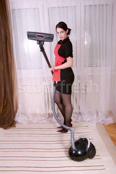 主婦 真空掃除機 肖像 美しい 小さな 幸せ ストックフォト © dukibu