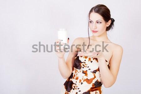 Beautiful girl with glass of milk Stock photo © dukibu