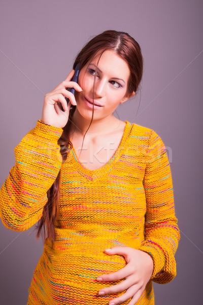 妊婦 話し 携帯電話 肖像 女性 赤ちゃん ストックフォト © dukibu