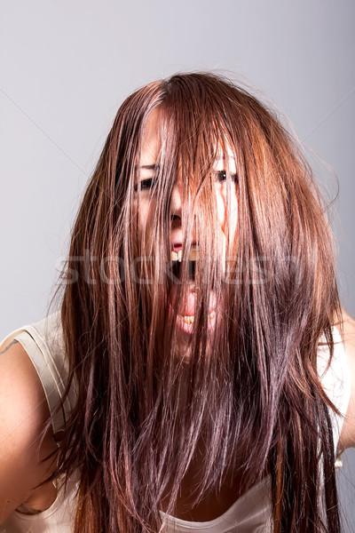 Portre korkutucu kadın korku ev kapı Stok fotoğraf © dukibu