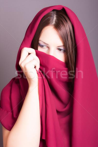 アラビア語 女性 ベール 肖像 目 唇 ストックフォト © dukibu