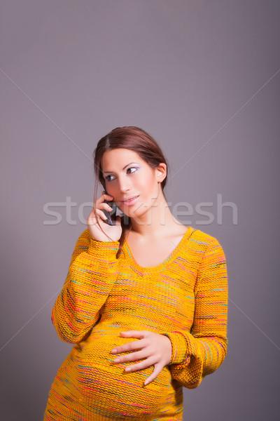 妊婦 携帯電話 肖像 女性 赤ちゃん パーティ ストックフォト © dukibu
