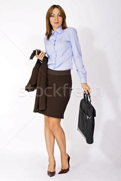 魅力的な 女性実業家 ブリーフケース 肖像 手 目 ストックフォト © dukibu
