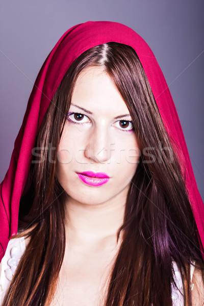 美しい アラブ 女性 顔 青 ストックフォト © dukibu
