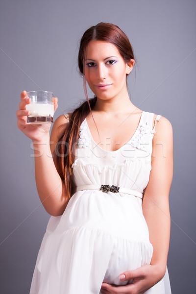 妊婦 ガラス ミルク 肖像 小さな ストックフォト © dukibu