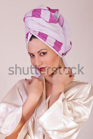 Genç güzel bir kadın havlu kafa portre kadın Stok fotoğraf © dukibu