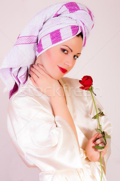 美人 花 肖像 女性 手 ストックフォト © dukibu