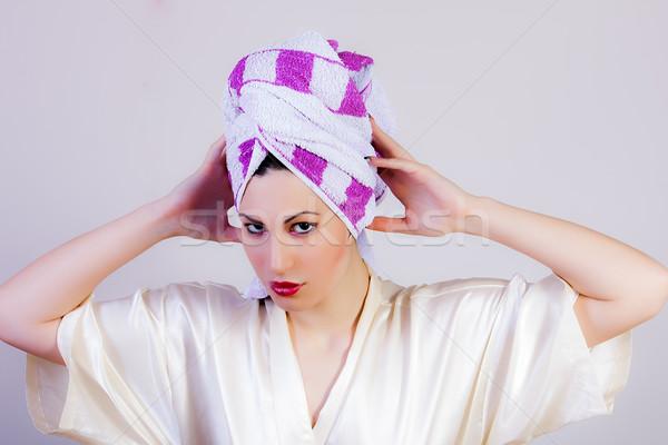 魅力のある女性 タオル 頭 肖像 女性 少女 ストックフォト © dukibu