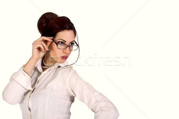 çekici işkadını gözlük portre göz kadın Stok fotoğraf © dukibu