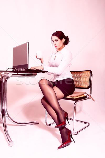 魅力的な 秘書 作業 先頭 コンピュータ 肖像 ストックフォト © dukibu