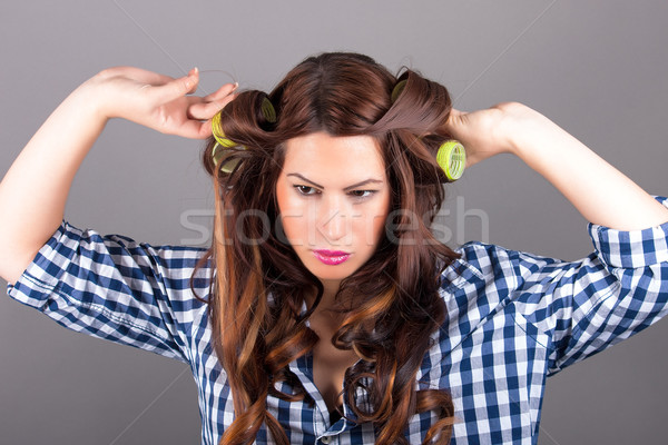Güzel bir kadın kıvırcık saçlı portre yüz siyah rüzgâr Stok fotoğraf © dukibu