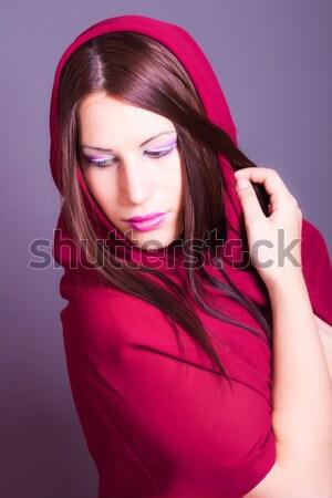 Güzel bir kadın peçe portre kadın moda gözler Stok fotoğraf © dukibu