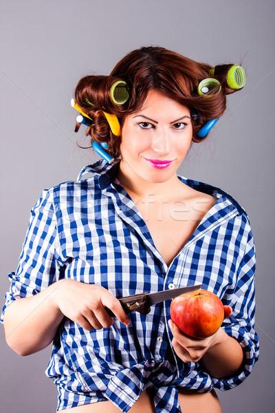 美しい 主婦 リンゴ ナイフ 肖像 ストックフォト © dukibu