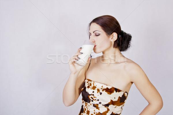 少女 飲料 ミルク 肖像 女性 家 ストックフォト © dukibu
