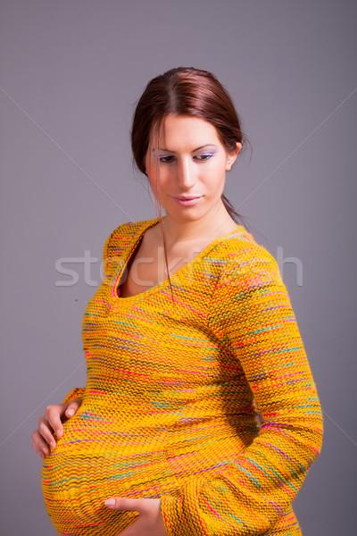 美しい 妊婦 肖像 女性 家族 幸せ ストックフォト © dukibu