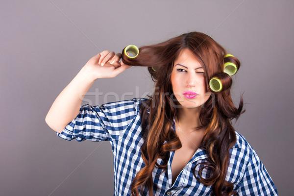 Bela mulher cabelos cacheados retrato cara preto vento Foto stock © dukibu