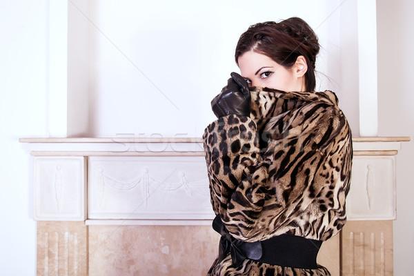 Divat modell visel szőr portré nő Stock fotó © dukibu