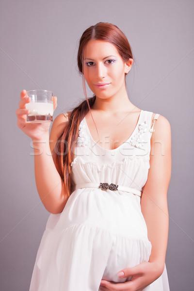 妊婦 ガラス ミルク 肖像 女性 ストックフォト © dukibu
