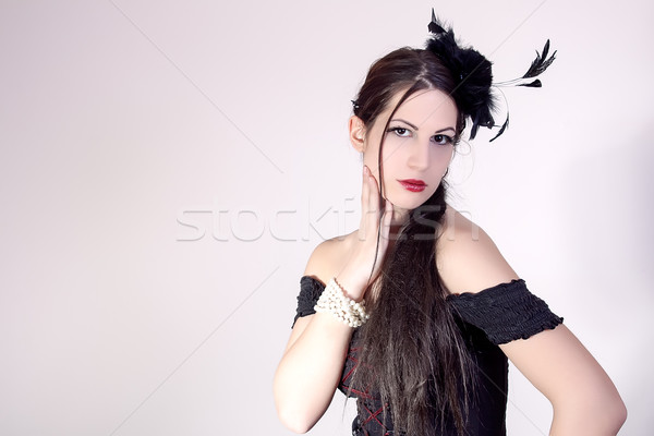 Mooie vrouw mode kapsel portret bloemen schoonheid Stockfoto © dukibu