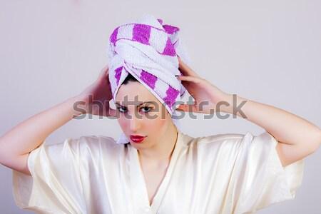 美人 タオル 頭 肖像 顔 髪 ストックフォト © dukibu