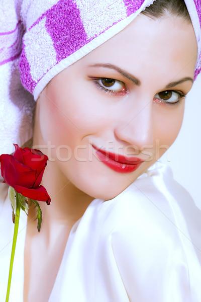 Foto d'archivio: Pretty · woman · asciugamano · testa · fiore · donna