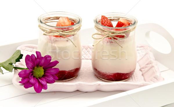 Yoğurt krem çilek reçel meyve kokteyl Stok fotoğraf © dulsita