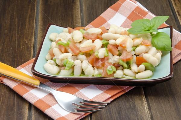 Fasulye salata domates biber soğan yemek Stok fotoğraf © dulsita