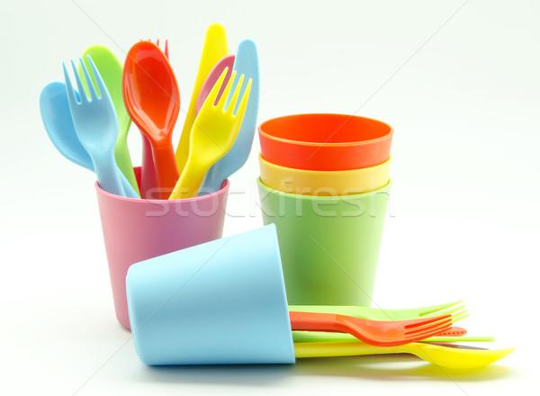 Plastik mutfak turuncu gözlük mavi Stok fotoğraf © dulsita