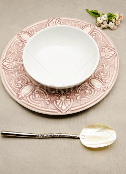 Tabel ingericht gerechten bereid voedsel diner Stockfoto © dulsita